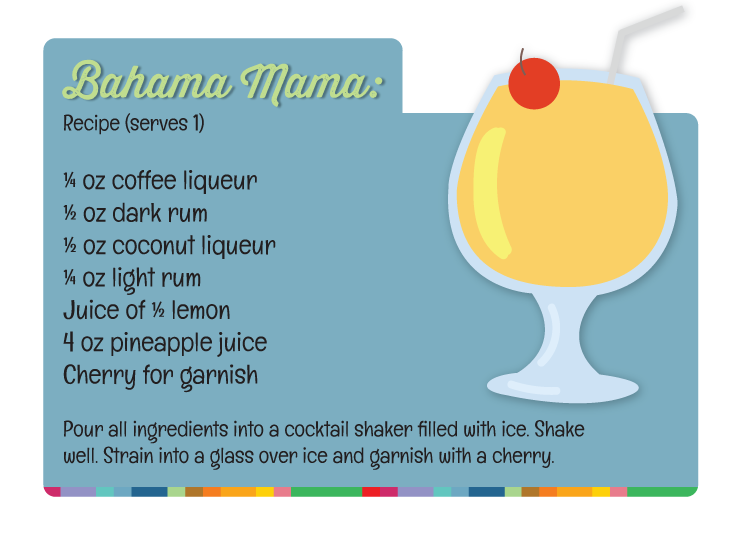 Cocktail recipe for Bahama Mama, a classic Bahamian cocktail.