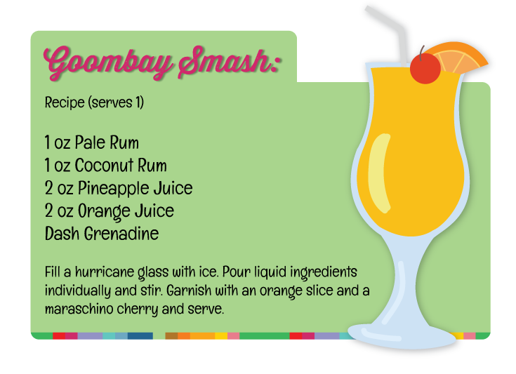 Recipe card for Goombay Smash, a classic Bahamas cocktail.