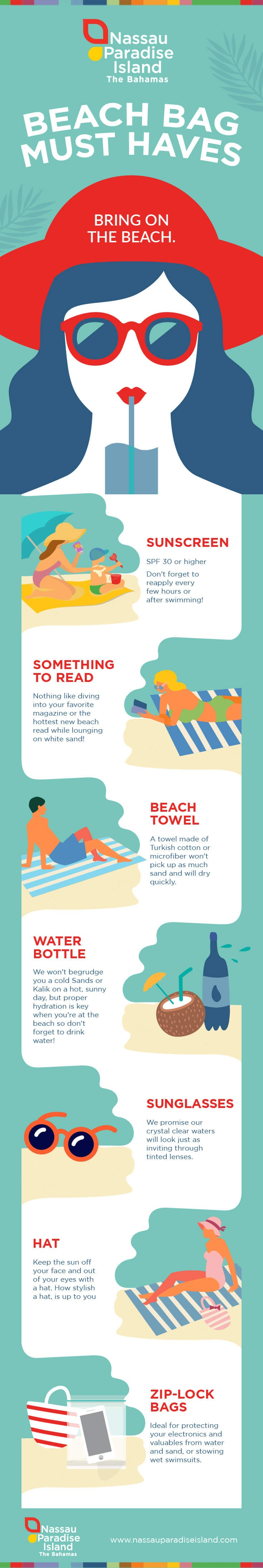 An infographic of items to pack in your beach bag on vacation.