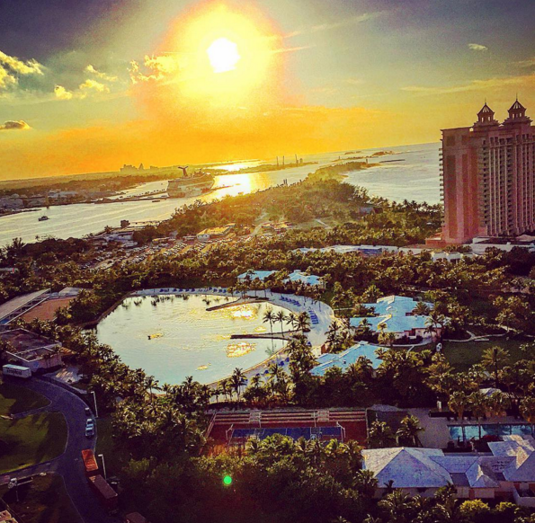 A beautiful sunset view of the grounds of Atlantis, Paradise Island in The Bahamas.