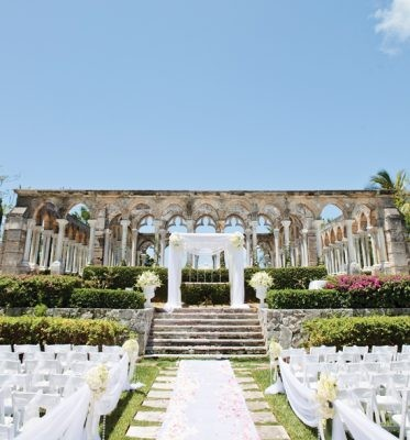 11 photos to inspire your bahamas wedding a beautiful wedding ceremony set up at the cloisters the ocean club a four junglespirit Images
