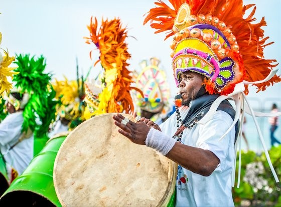 Musicians play on Goombay drums at the Junkanoo Carnival in Nassau Paradise Island Bahamas