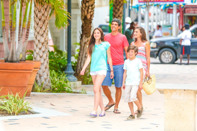 Downtown Nassau is a fun destination for families.