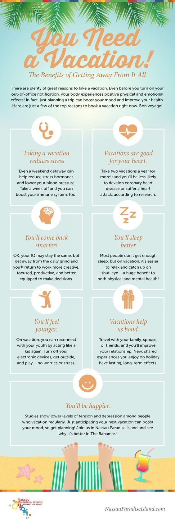 Infographic about the health benefits of taking a vacation.