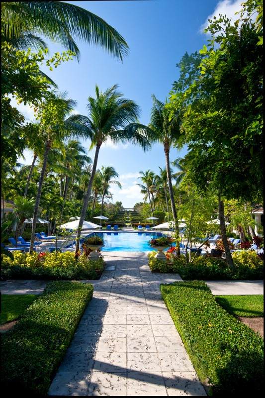 The stone walkway that leads to the palm tree surrounded pool at The Ocean Club