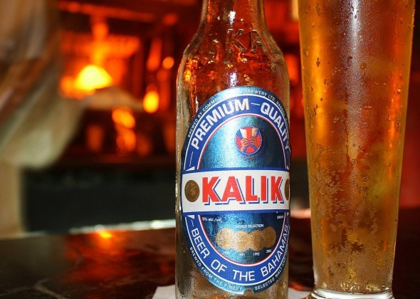 A bottle of Kalik beer - the beer of The Bahamas.