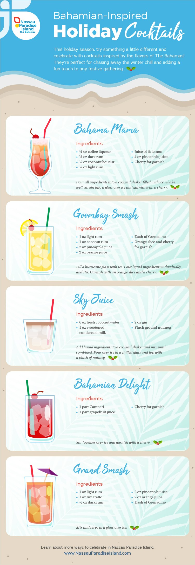 Infographic featuring Bahamian-style holiday cocktail recipes