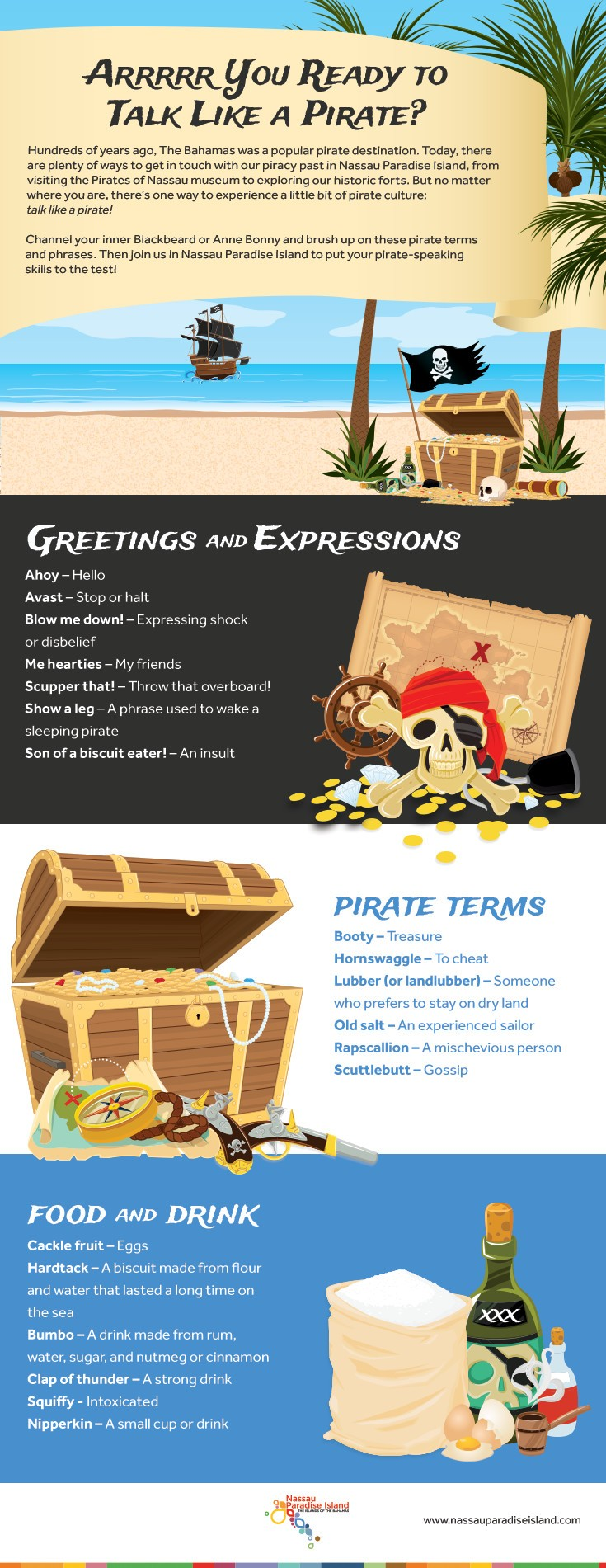 An infographic with pirate words and phrases.