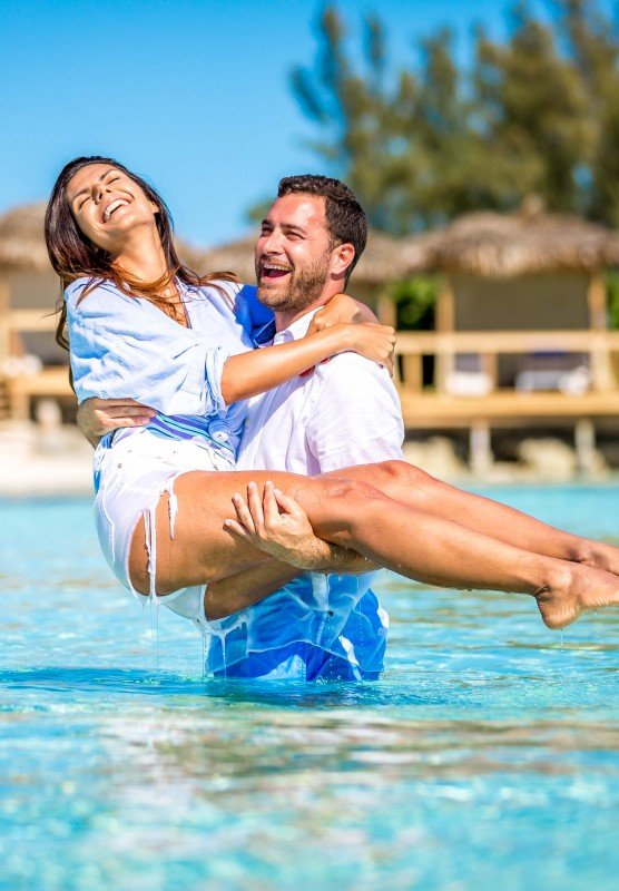 A couple in the water in Nassau Paradise Island