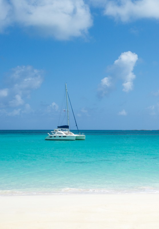 A sailboat in the ocean in Nassau Paradise Island