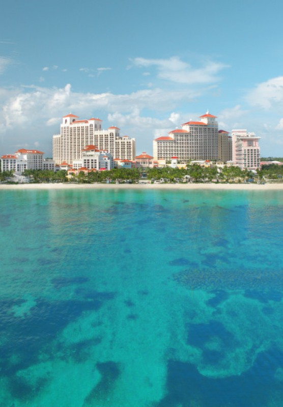 A landscape photo of the Baha Mar resort as seen from the Bahamian waters