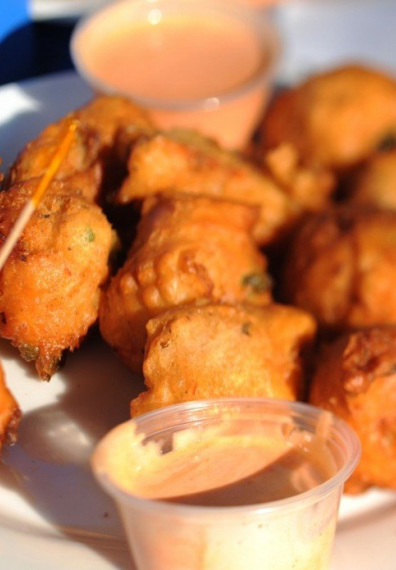 A plate of conch fritters.