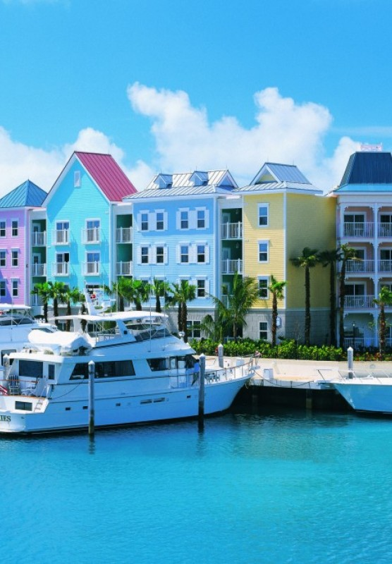 Colourful houses along a harbour