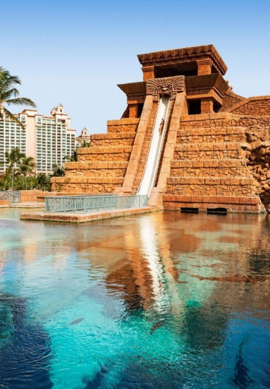 Mayan temple with pool