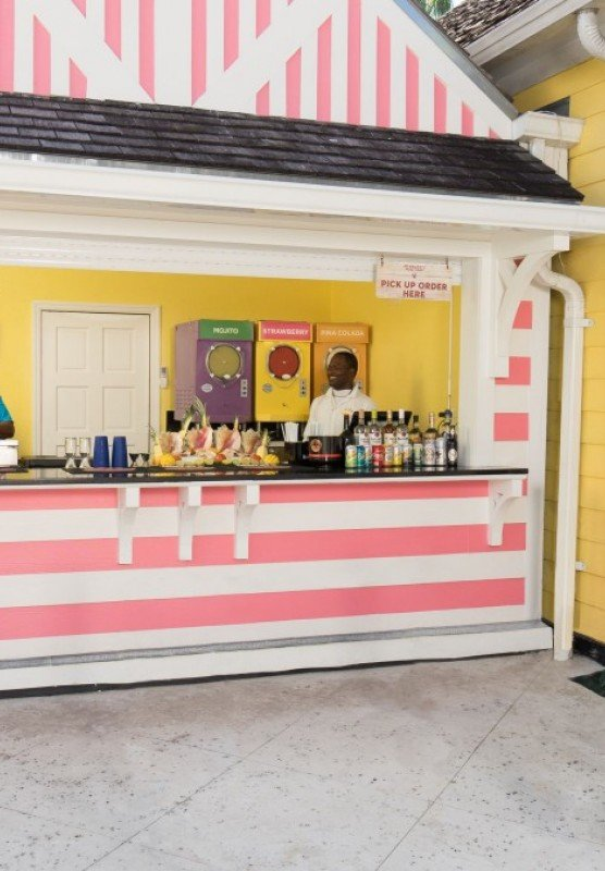 Outside of pink striped fruit stand