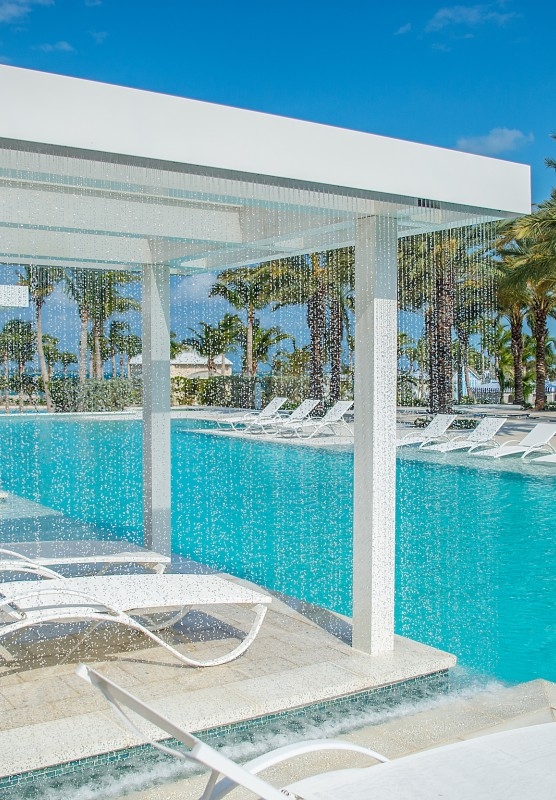 Refreshing white loungers and poolside cabanas at Baha Mar.