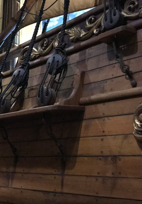 Close up of a pirate ship in a museum.
