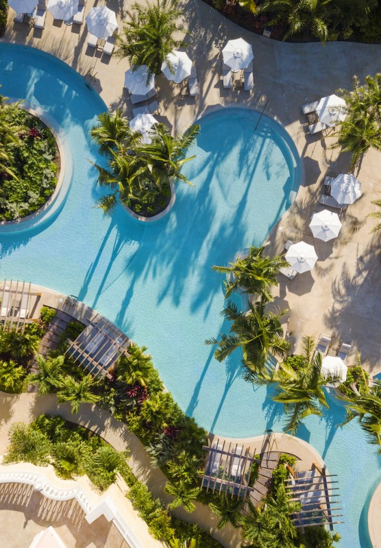 Aerial photo of a pool at Rosewood Baha Mar in Nassau Bahamas