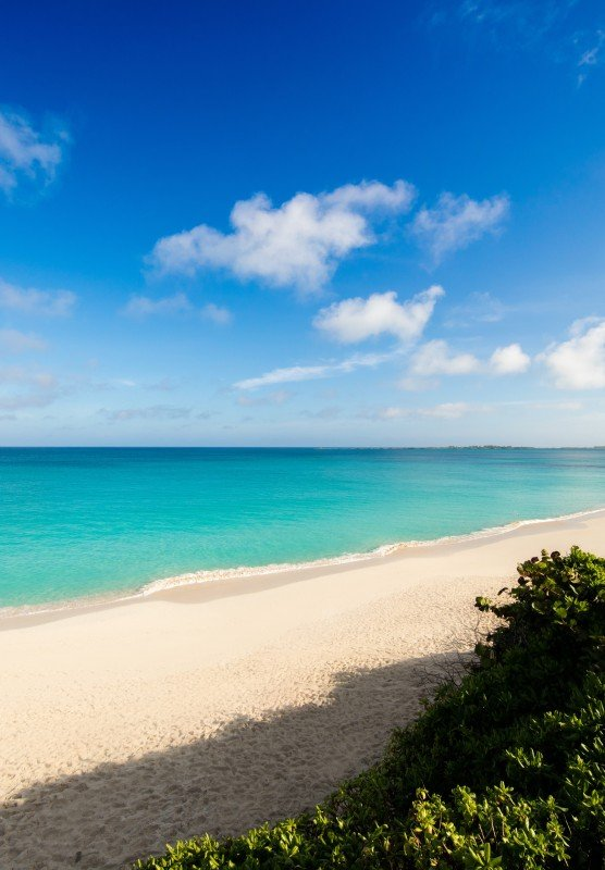 An empty tropical beach with white sand and bright turquoise water.